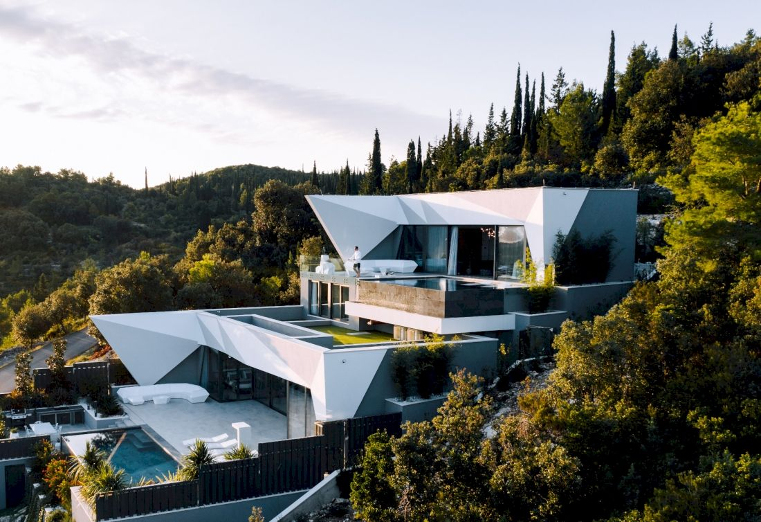 Contemporary mansion on Korčula Island with the panoramic seaview