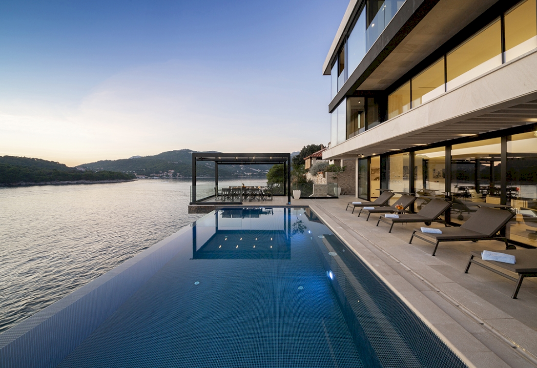 Waterfront villa for sale with private beach in Croatia, Dubrovnik