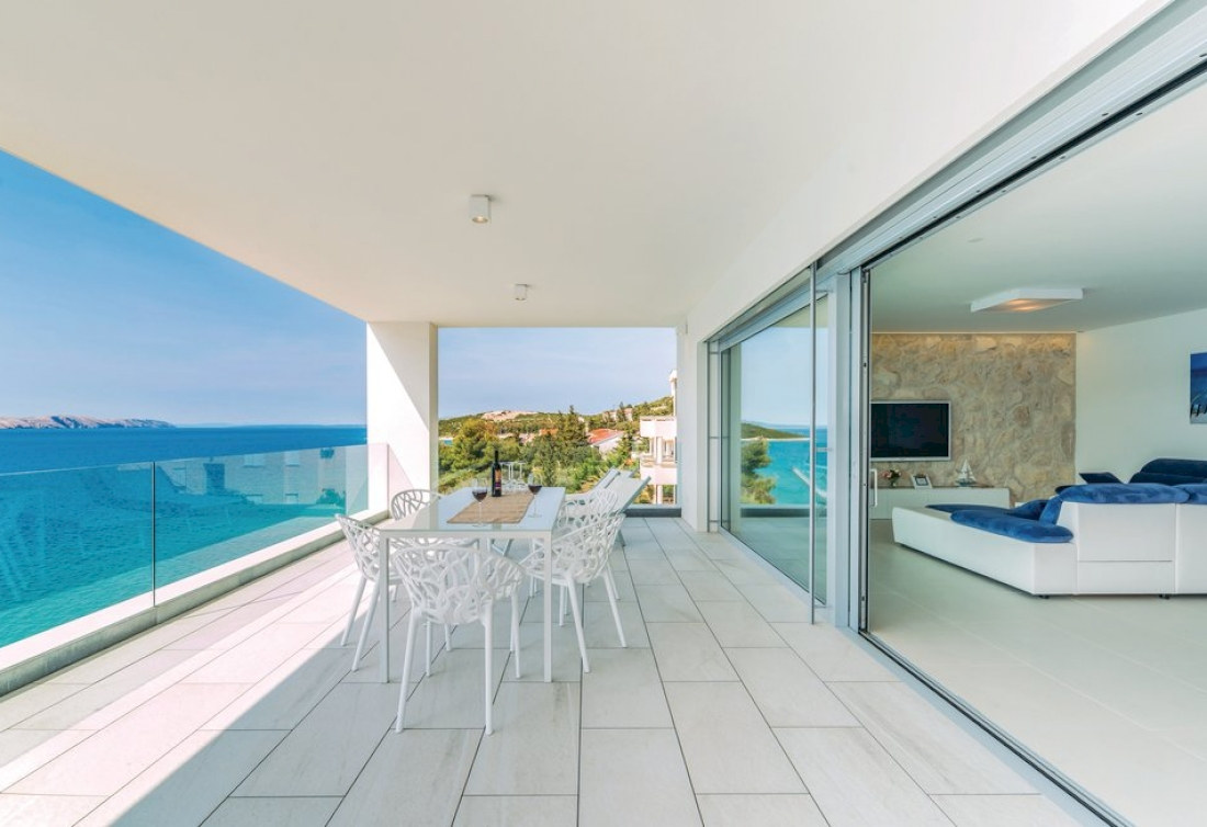 Waterfront penthouse with private beach for sale in Croatia