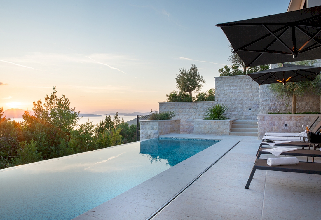 Luxury holiday villa with the panoramic sea view